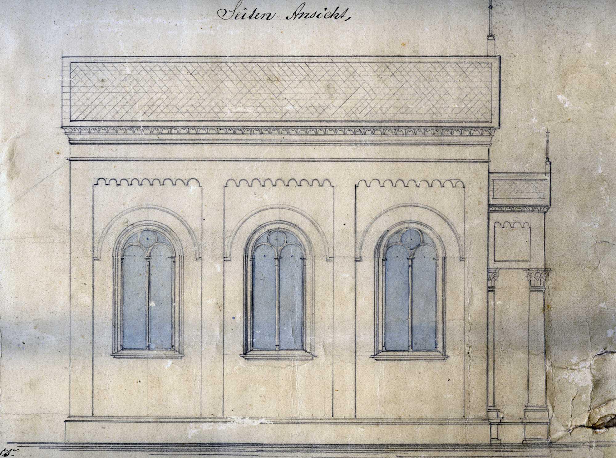 Bethaus um 1880 Seitenansicht